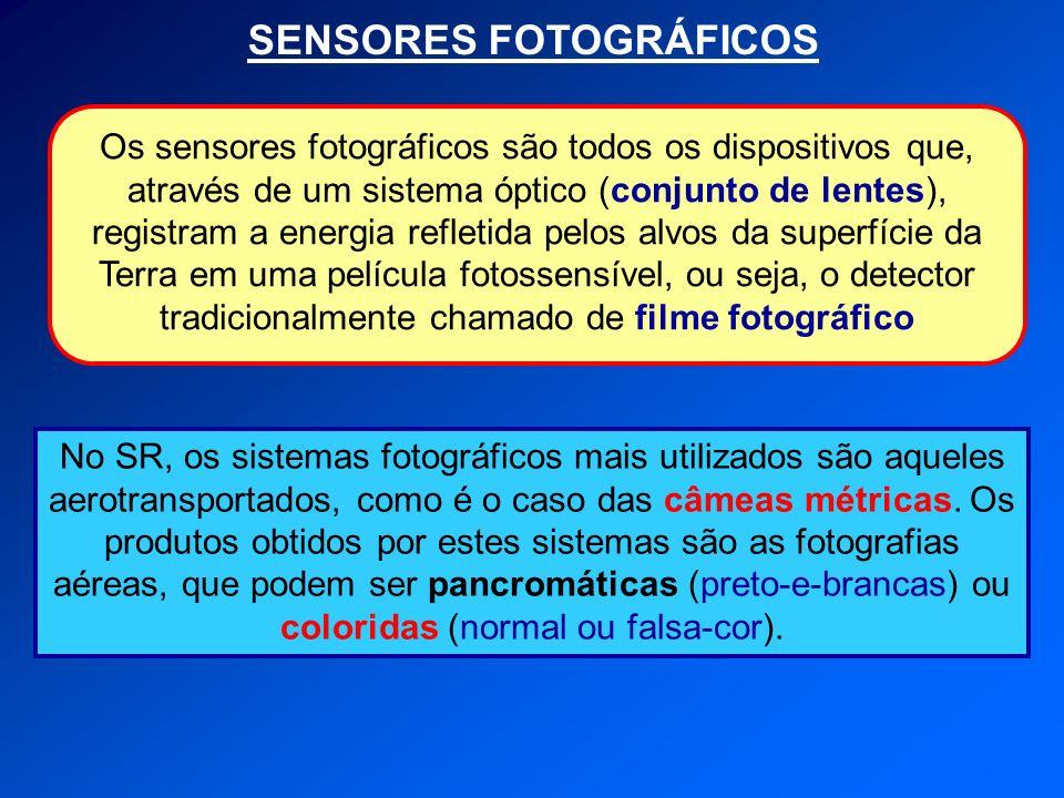 SENSORES FOTOGRÁFICOS No SR, os sistemas fotográficos mais utilizados são aqueles aerotransportados, como é o caso das câmeas métricas. Os produtos ob