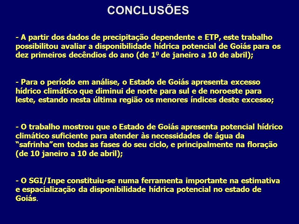 CONCLUSÕES - A partir dos dados de precipitação dependente e ETP, este trabalho possibilitou avaliar a disponibilidade hídrica potencial de Goiás para