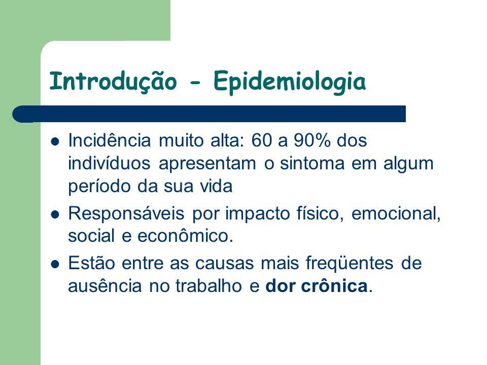 Introdução - Epidemiologia Incidência muito alta: 60 a 90% dos indivíduos apresentam o sintoma em algum período da sua vida Responsáveis por impacto f