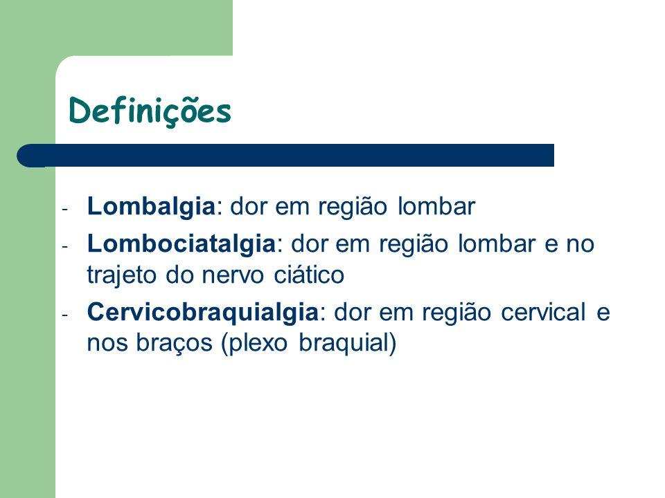 - Lombalgia: dor em região lombar - Lombociatalgia: dor em região lombar e no trajeto do nervo ciático - Cervicobraquialgia: dor em região cervical e