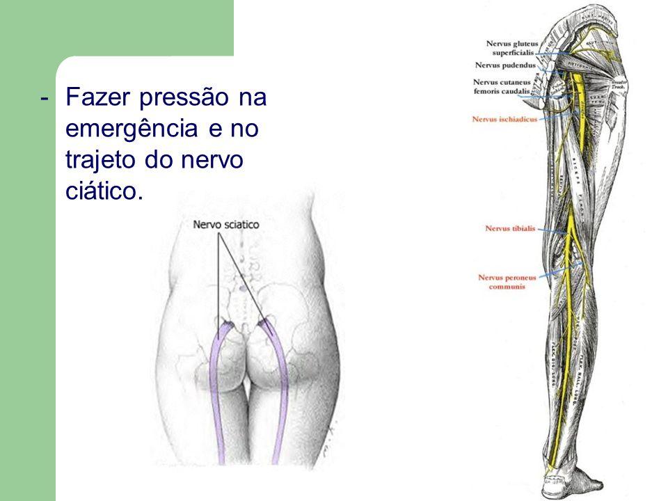 -Fazer pressão na emergência e no trajeto do nervo ciático.
