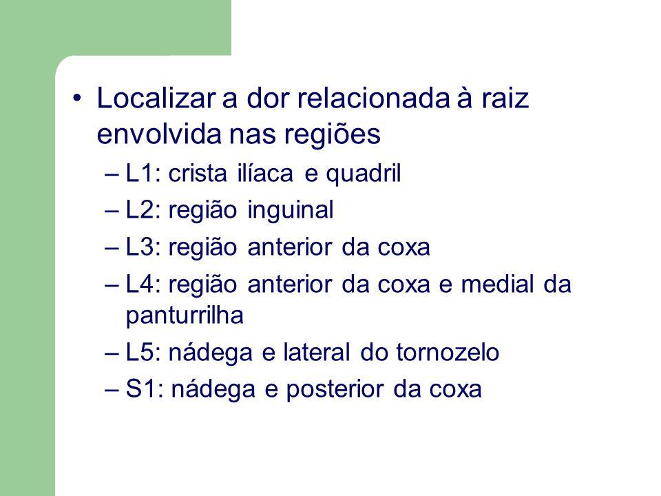 Localizar a dor relacionada à raiz envolvida nas regiões –L1: crista ilíaca e quadril –L2: região inguinal –L3: região anterior da coxa –L4: região an