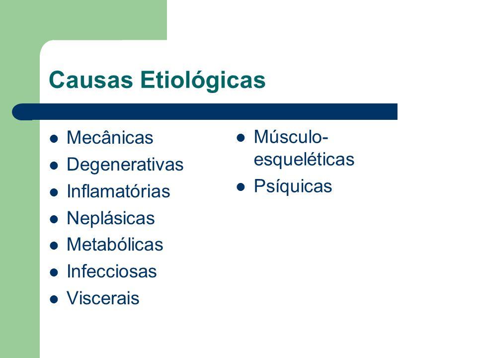 Causas Etiológicas Mecânicas Degenerativas Inflamatórias Neplásicas Metabólicas Infecciosas Viscerais Músculo- esqueléticas Psíquicas