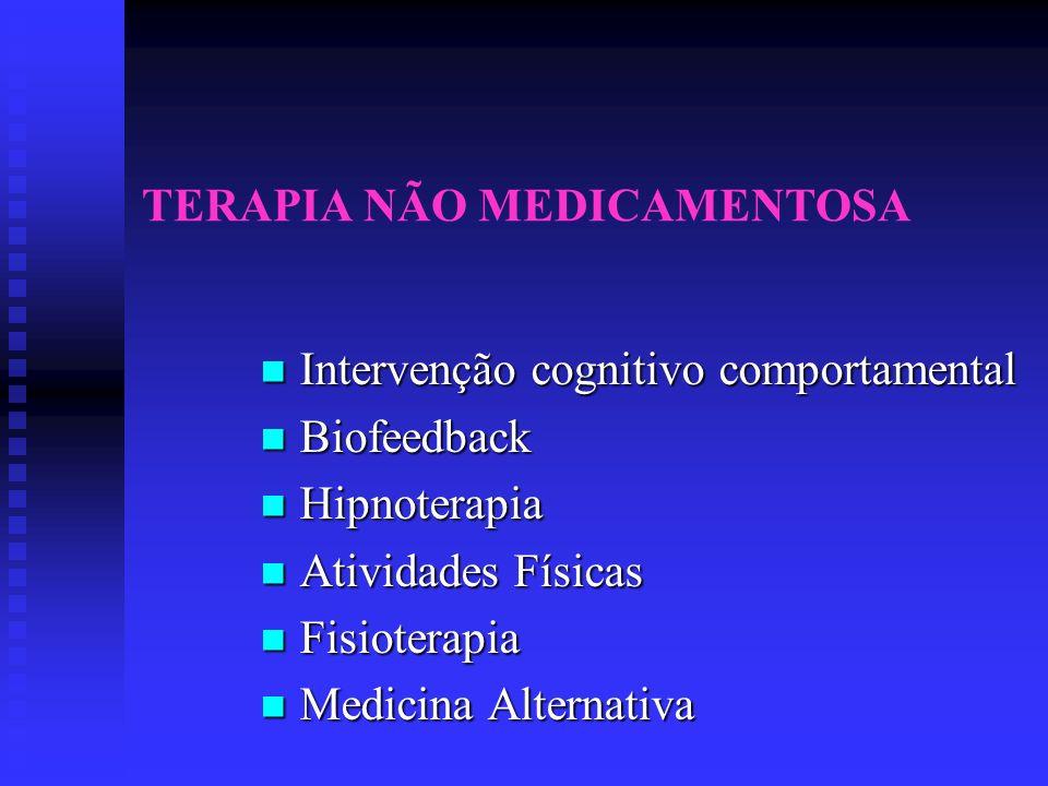 TERAPIA NÃO MEDICAMENTOSA Intervenção cognitivo comportamental Intervenção cognitivo comportamental Biofeedback Biofeedback Hipnoterapia Hipnoterapia