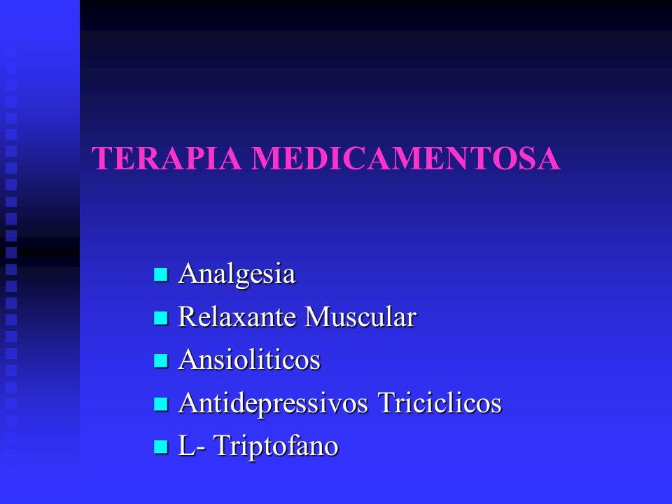 TERAPIA MEDICAMENTOSA Analgesia Analgesia Relaxante Muscular Relaxante Muscular Ansioliticos Ansioliticos Antidepressivos Triciclicos Antidepressivos