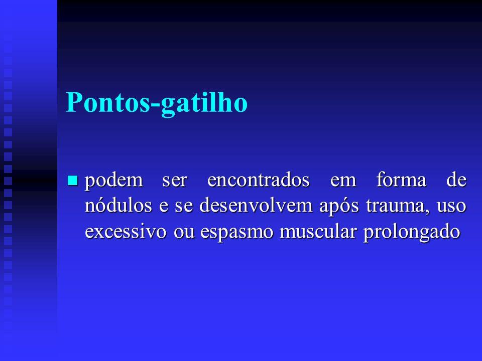 Pontos-gatilho podem ser encontrados em forma de nódulos e se desenvolvem após trauma, uso excessivo ou espasmo muscular prolongado podem ser encontra