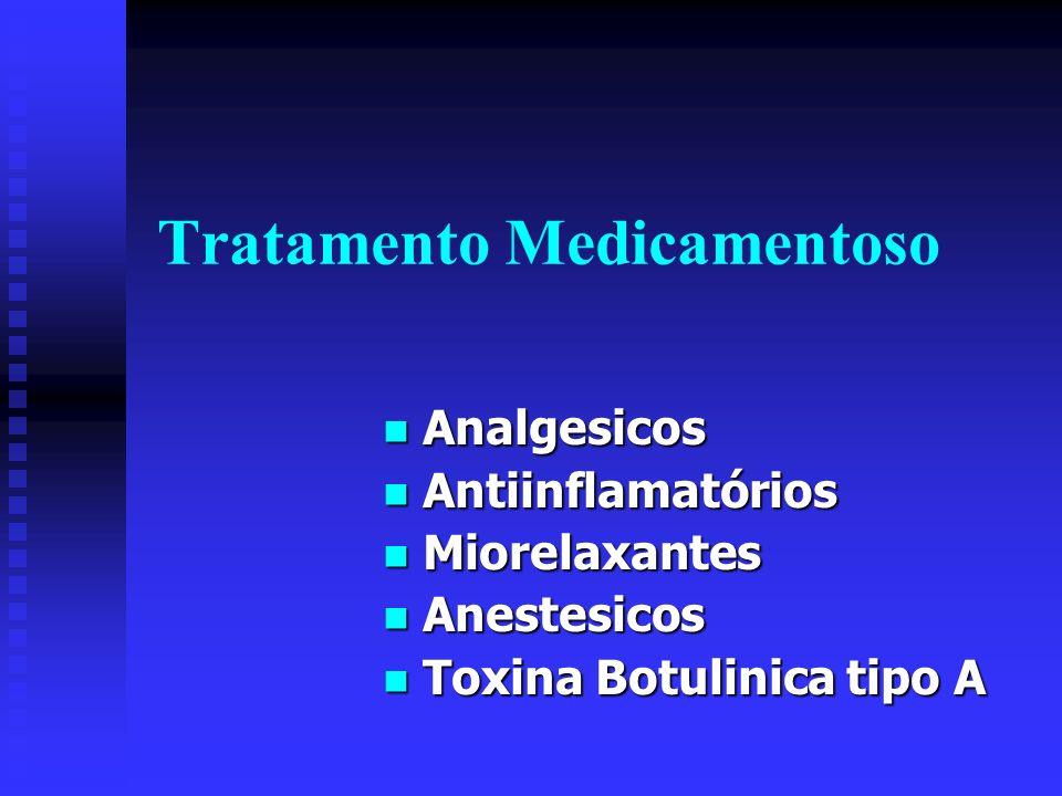 Tratamento Medicamentoso Analgesicos Analgesicos Antiinflamatórios Antiinflamatórios Miorelaxantes Miorelaxantes Anestesicos Anestesicos Toxina Botuli