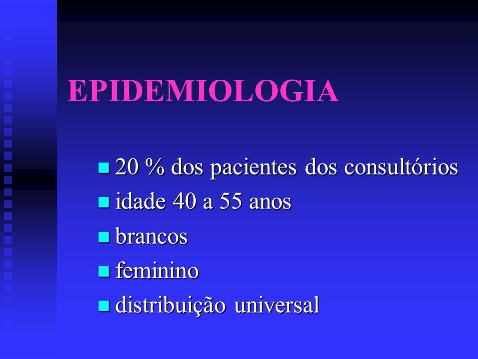 EPIDEMIOLOGIA 20 % dos pacientes dos consultórios 20 % dos pacientes dos consultórios idade 40 a 55 anos idade 40 a 55 anos brancos brancos feminino f
