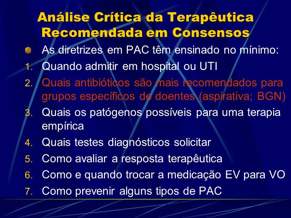 Análise Crítica da Terapêutica Recomendada em Consensos As diretrizes em PAC têm ensinado no mínimo: 1. Quando admitir em hospital ou UTI 2. Quais ant