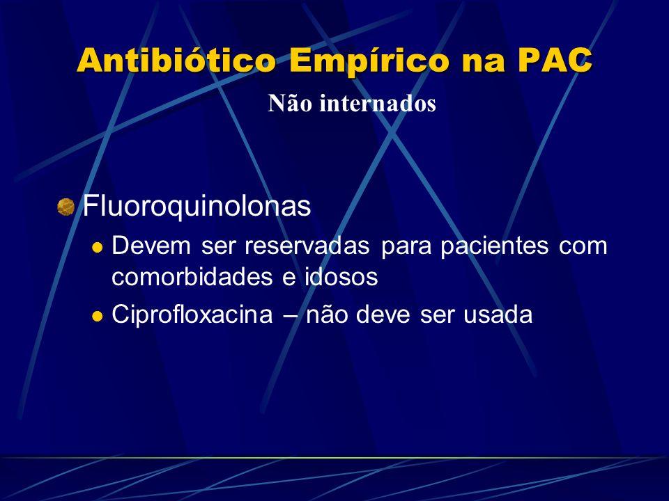 Antibiótico Empírico na PAC Fluoroquinolonas Devem ser reservadas para pacientes com comorbidades e idosos Ciprofloxacina – não deve ser usada Não int