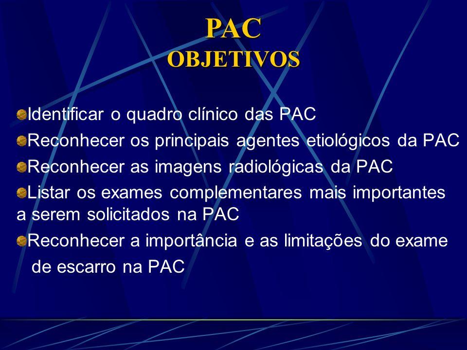 Identificar o quadro clínico das PAC Reconhecer os principais agentes etiológicos da PAC Reconhecer as imagens radiológicas da PAC Listar os exames co