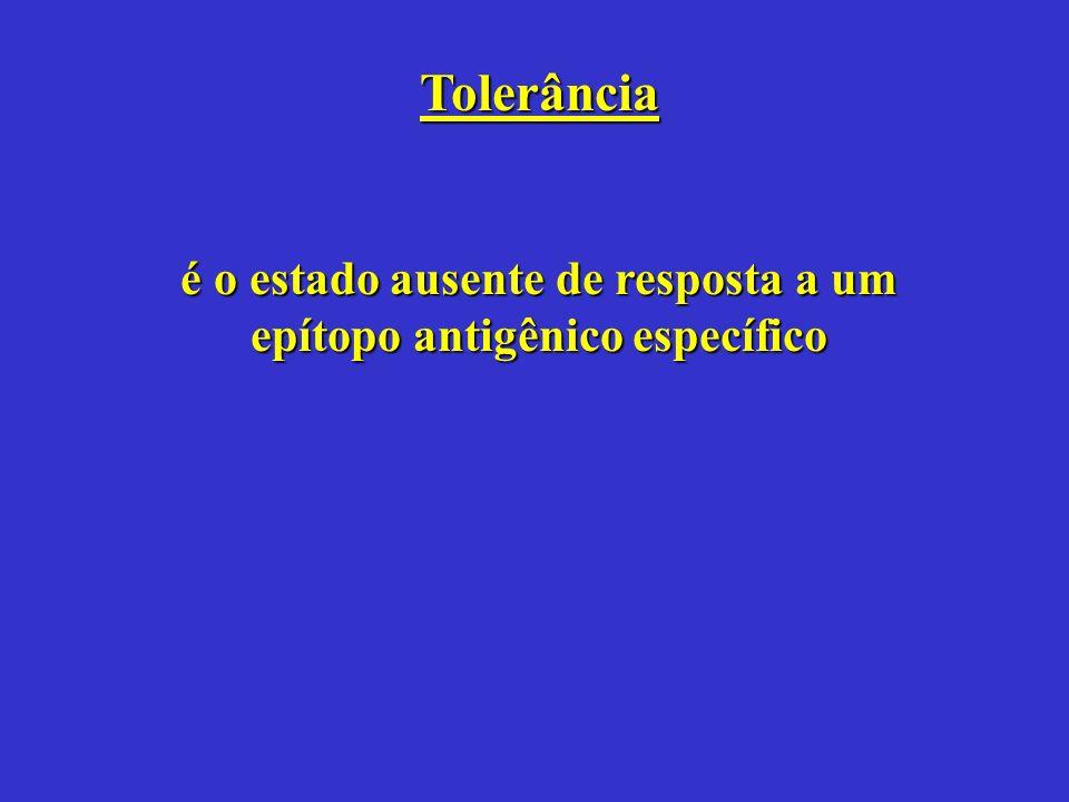 Tolerância é o estado ausente de resposta a um epítopo antigênico específico