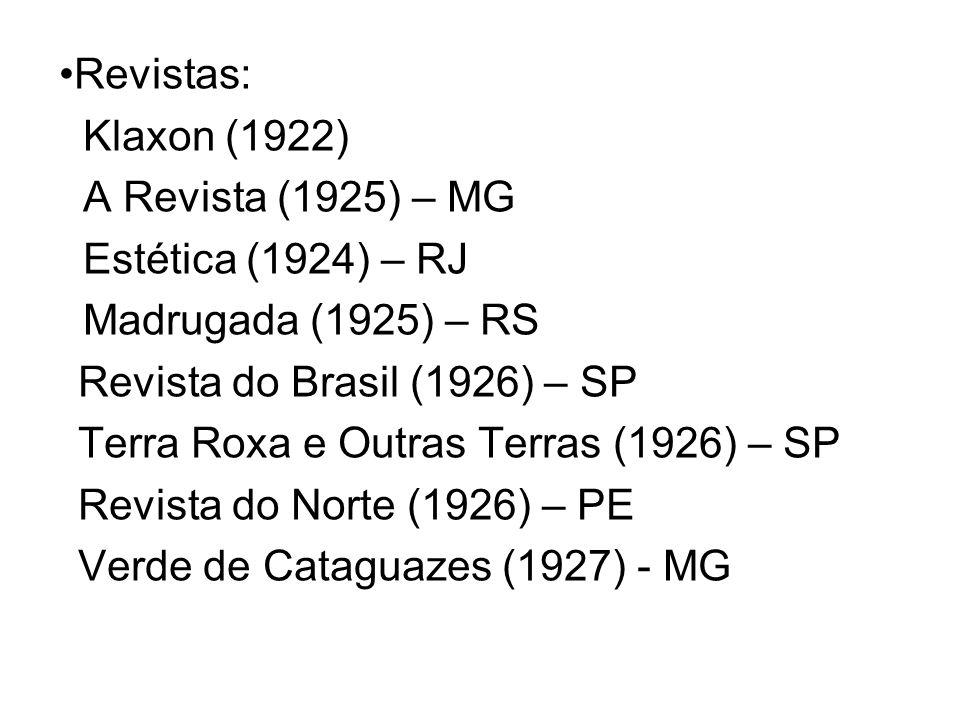 Revistas: Klaxon (1922) A Revista (1925) – MG Estética (1924) – RJ Madrugada (1925) – RS Revista do Brasil (1926) – SP Terra Roxa e Outras Terras (192
