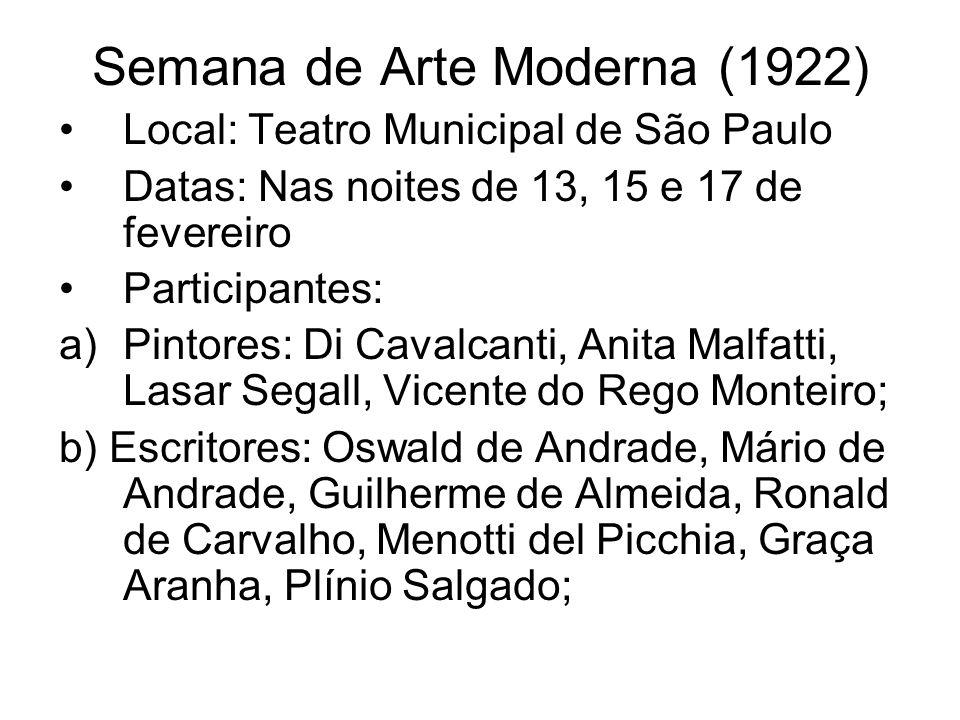 Semana de Arte Moderna (1922) Local: Teatro Municipal de São Paulo Datas: Nas noites de 13, 15 e 17 de fevereiro Participantes: a)Pintores: Di Cavalca