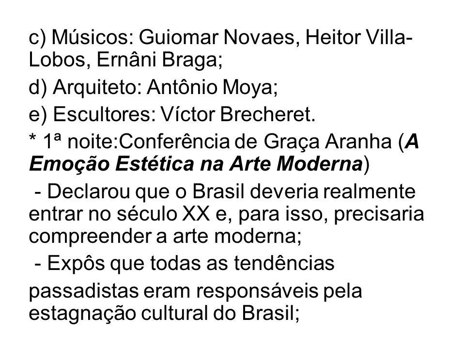 c) Músicos: Guiomar Novaes, Heitor Villa- Lobos, Ernâni Braga; d) Arquiteto: Antônio Moya; e) Escultores: Víctor Brecheret. * 1ª noite:Conferência de