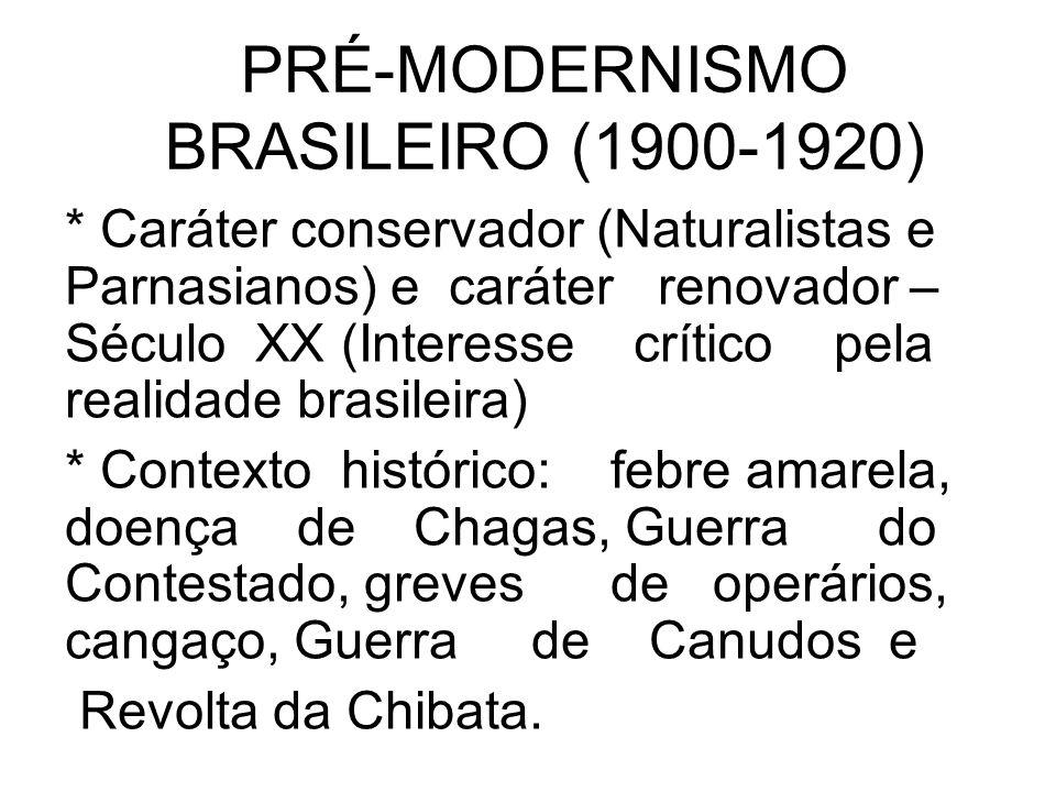 PRÉ-MODERNISMO BRASILEIRO (1900-1920) * Caráter conservador (Naturalistas e Parnasianos) e caráter renovador – Século XX (Interesse crítico pela reali