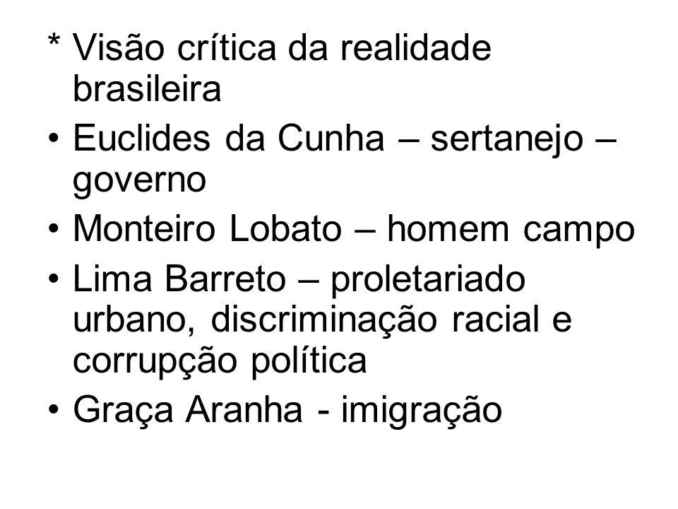 * Visão crítica da realidade brasileira Euclides da Cunha – sertanejo – governo Monteiro Lobato – homem campo Lima Barreto – proletariado urbano, disc