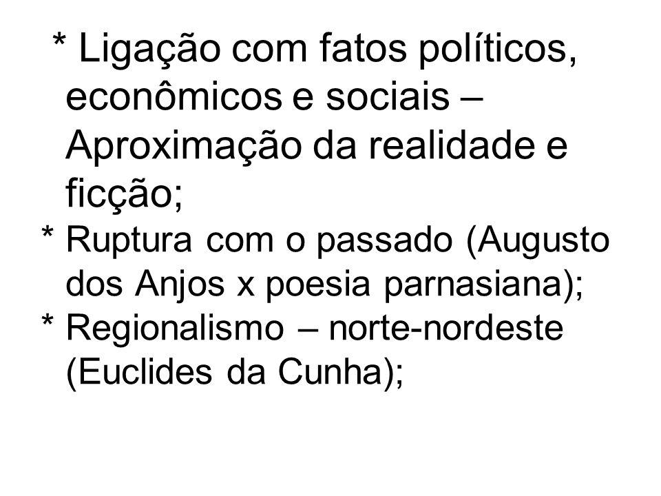 * Ligação com fatos políticos, econômicos e sociais – Aproximação da realidade e ficção; * Ruptura com o passado (Augusto dos Anjos x poesia parnasian