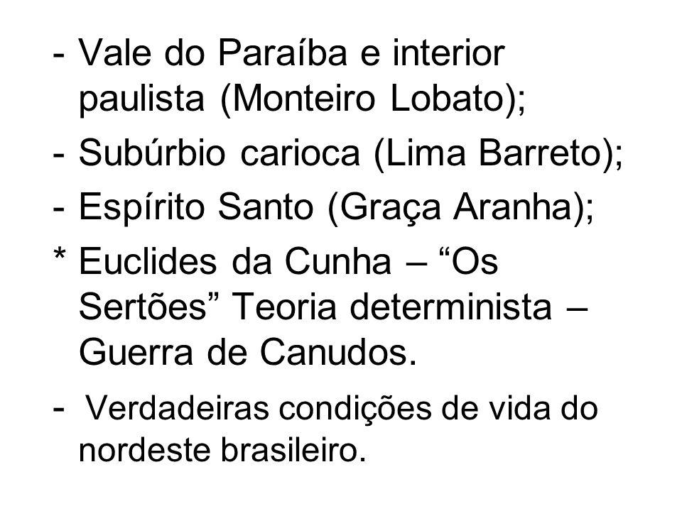 -Vale do Paraíba e interior paulista (Monteiro Lobato); -Subúrbio carioca (Lima Barreto); -Espírito Santo (Graça Aranha); * Euclides da Cunha – Os Ser