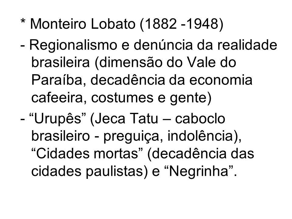 * Monteiro Lobato (1882 -1948) - Regionalismo e denúncia da realidade brasileira (dimensão do Vale do Paraíba, decadência da economia cafeeira, costum