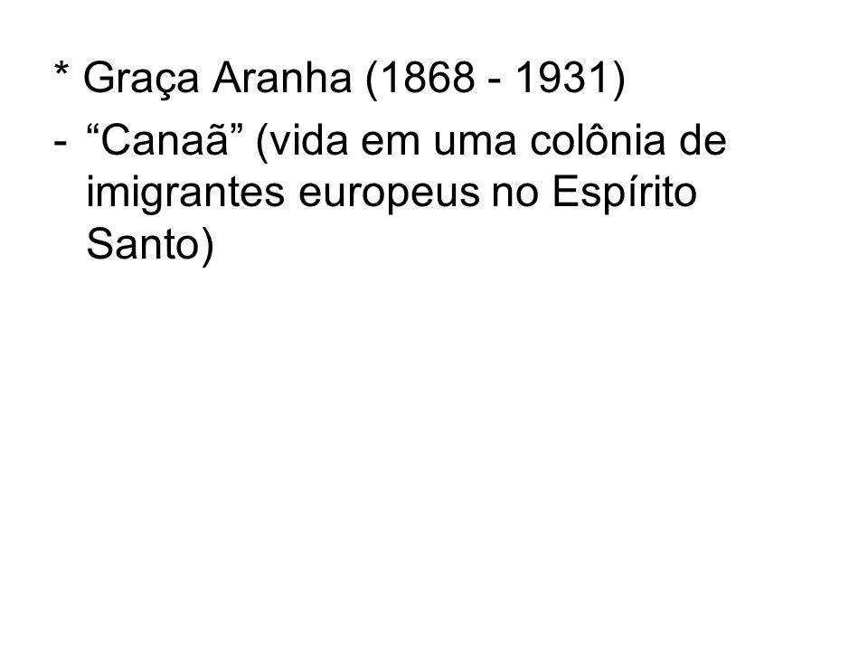 * Graça Aranha (1868 - 1931) -Canaã (vida em uma colônia de imigrantes europeus no Espírito Santo)