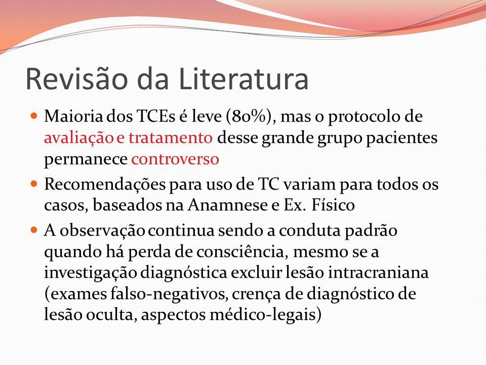 Revisão da Literatura Maioria dos TCEs é leve (80%), mas o protocolo de avaliação e tratamento desse grande grupo pacientes permanece controverso Reco