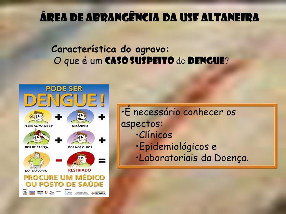 Área de abrangência da USF Altaneira Característica do agravo: O que é um caso suspeito de Dengue ? É necessário conhecer os aspectos: Clínicos Epidem