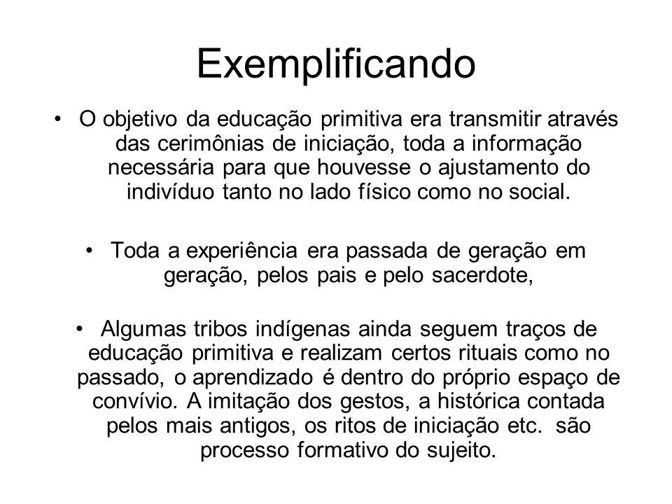 Exemplificando O objetivo da educação primitiva era transmitir através das cerimônias de iniciação, toda a informação necessária para que houvesse o a