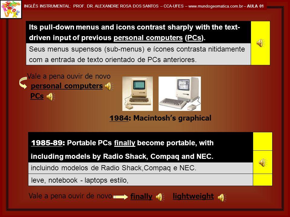 INGLÊS INSTRUMENTAL: PROF. DR. ALEXANDRE ROSA DOS SANTOS – CCA-UFES – www.mundogeomatica.com.br – AULA 01 SECÇÃO 04 1983: The Compaq Portable is the f