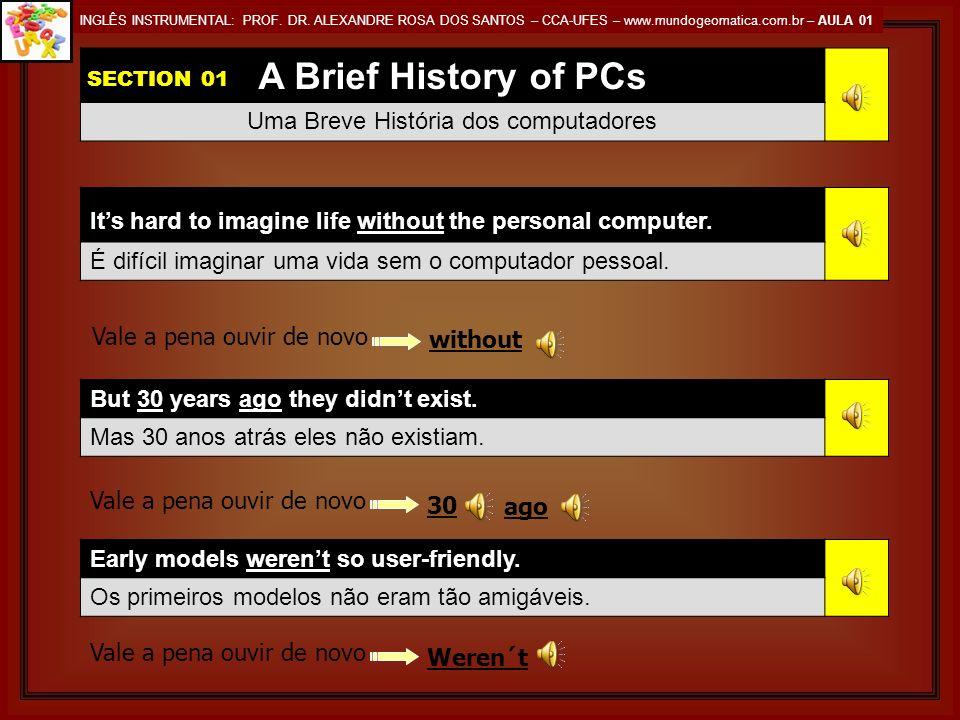 A Brief History of PCs Uma Breve História dos computadores Its hard to imagine life without the personal computer.