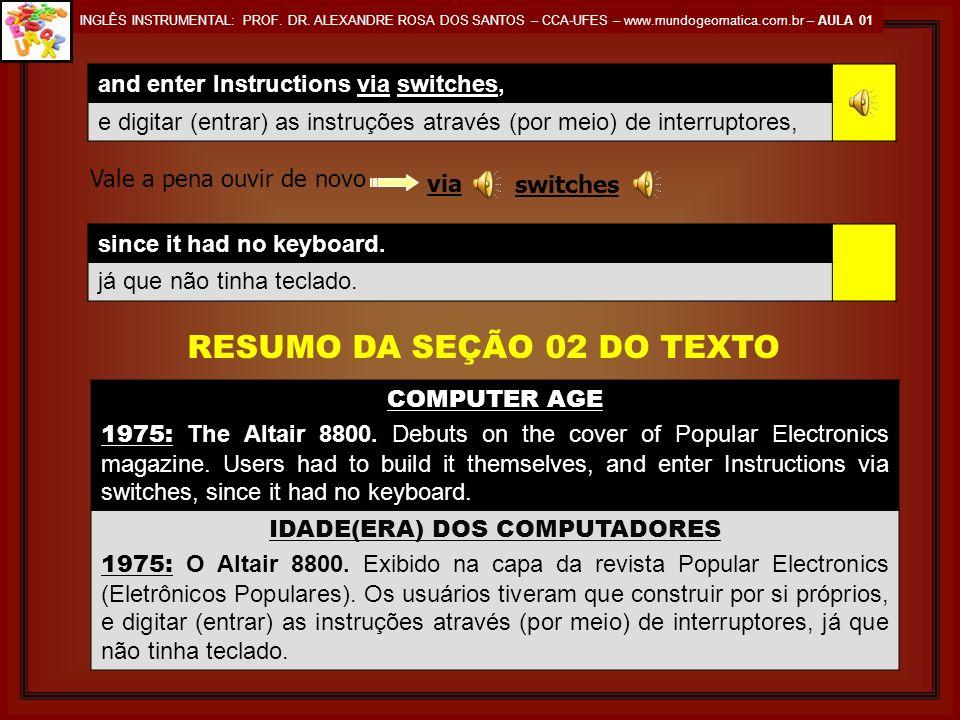 INGLÊS INSTRUMENTAL: PROF. DR. ALEXANDRE ROSA DOS SANTOS – CCA-UFES – www.mundogeomatica.com.br – AULA 01 COMPUTER AGE IDADE(ERA) DOS COMPUTADORES 197