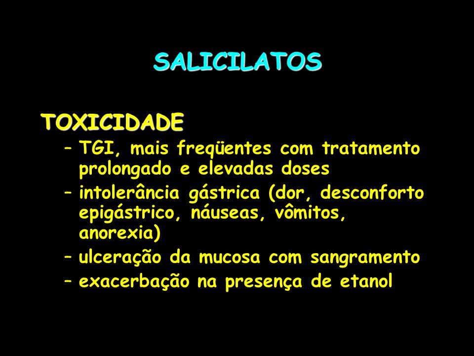 SALICILATOSTOXICIDADE –TGI, mais freqüentes com tratamento prolongado e elevadas doses –intolerância gástrica (dor, desconforto epigástrico, náuseas,