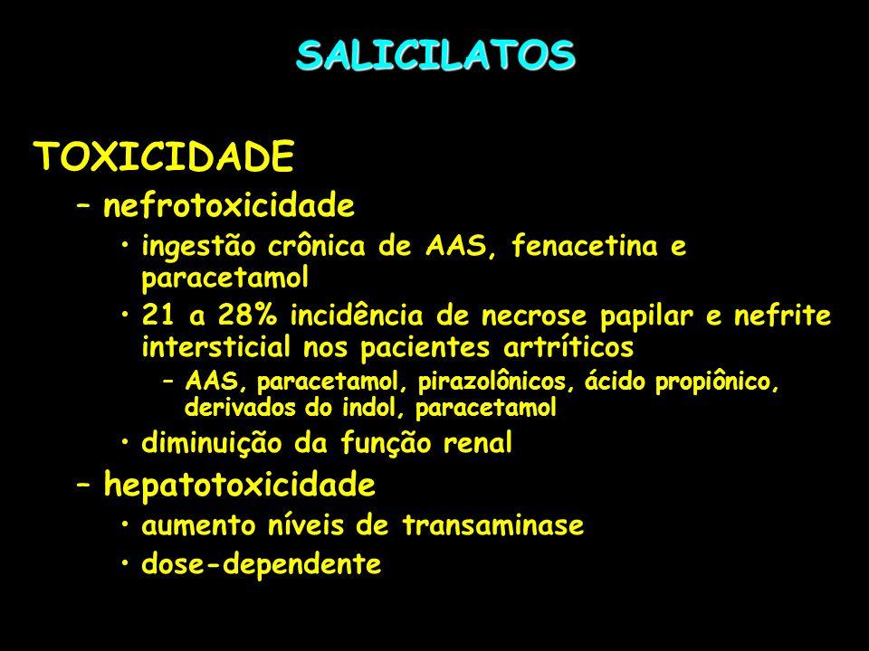 SALICILATOS TOXICIDADE –nefrotoxicidade ingestão crônica de AAS, fenacetina e paracetamol 21 a 28% incidência de necrose papilar e nefrite intersticia