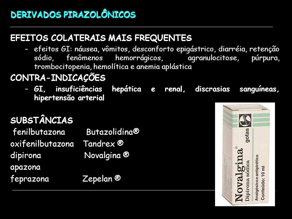 DERIVADOS PIRAZOLÔNICOS EFEITOS COLATERAIS MAIS FREQUENTES –efeitos GI: náusea, vômitos, desconforto epigástrico, diarréia, retenção sódio, fenômenos