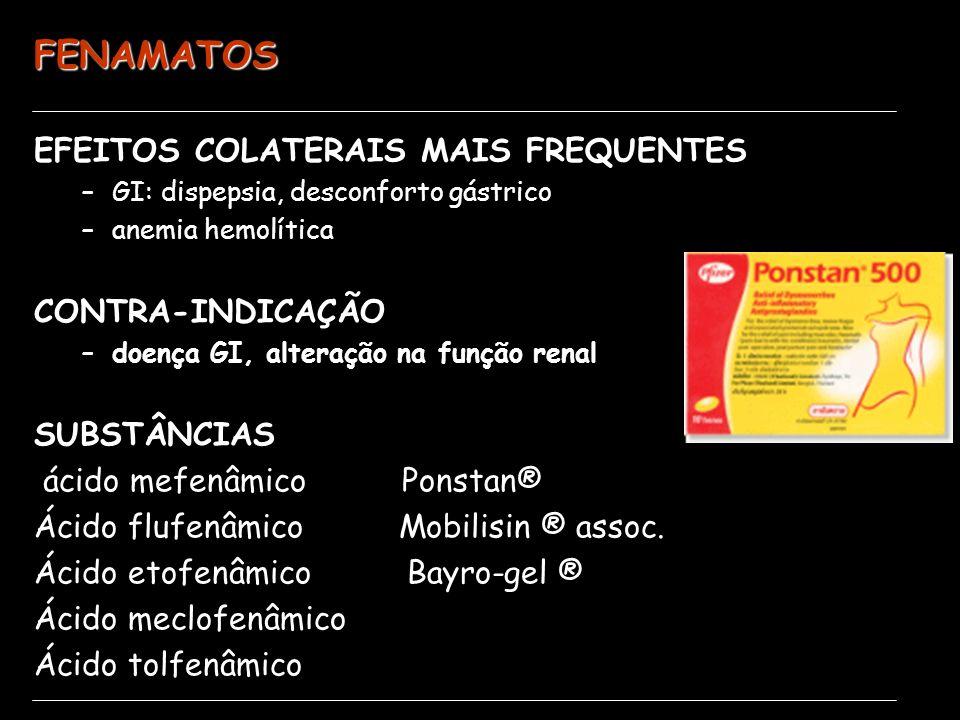 FENAMATOS EFEITOS COLATERAIS MAIS FREQUENTES –GI: dispepsia, desconforto gástrico –anemia hemolítica CONTRA-INDICAÇÃO –doença GI, alteração na função