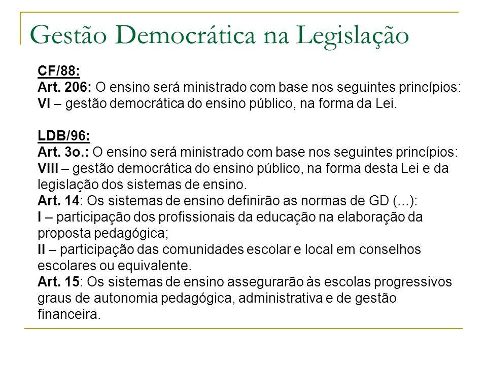 O que é Gestão Democrática? Gestão Democrática é o processo político através do qual as pessoas na escola discutem, deliberam e planejam, solucionam p