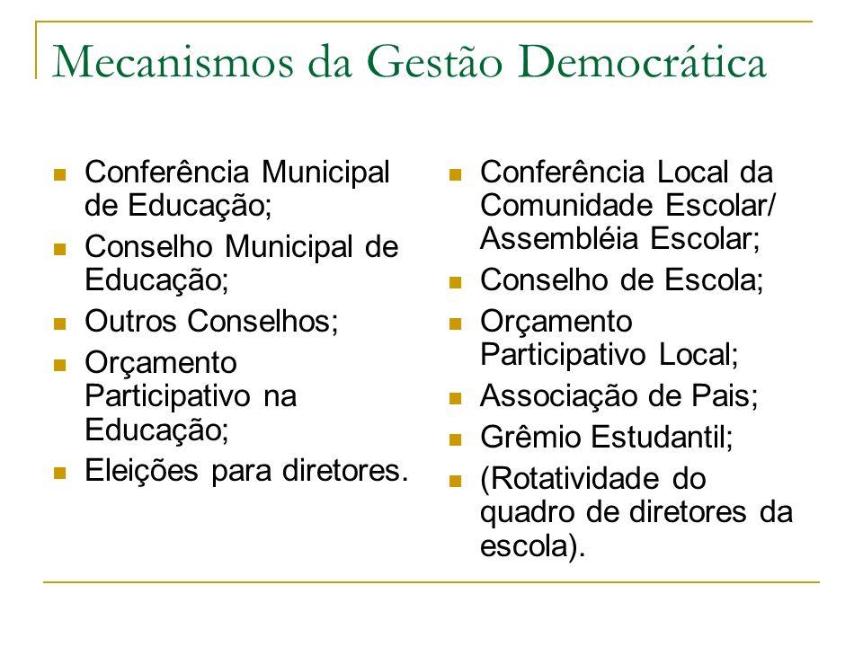 Dificuldades para a Gestão Democrática Dificuldades Externas à Escola a pequena vontade política; contrariedade à idéia de participação política; Difi