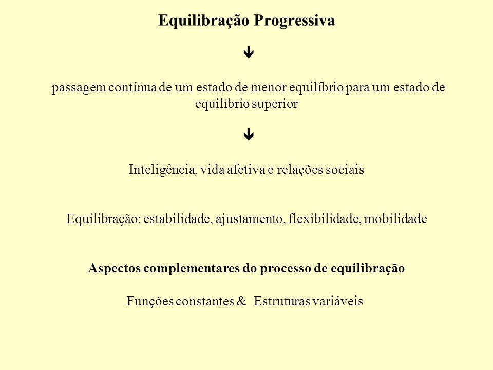 Equilibração Progressiva passagem contínua de um estado de menor equilíbrio para um estado de equilíbrio superior Inteligência, vida afetiva e relaçõe