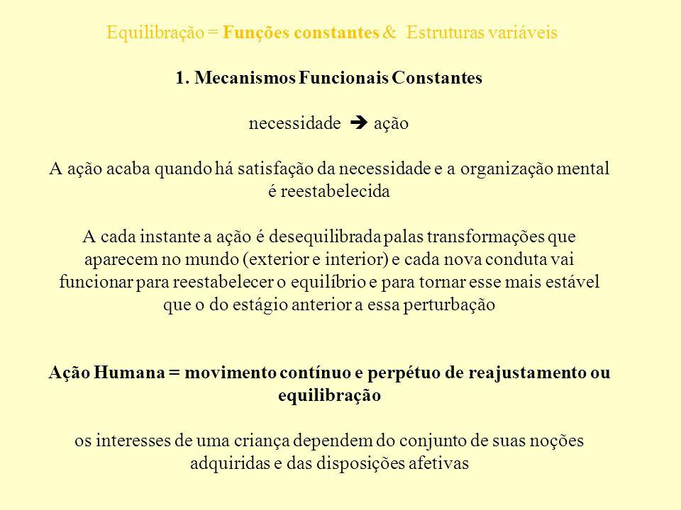 Equilibração = Funções constantes & Estruturas variáveis 1. Mecanismos Funcionais Constantes necessidade ação A ação acaba quando há satisfação da nec
