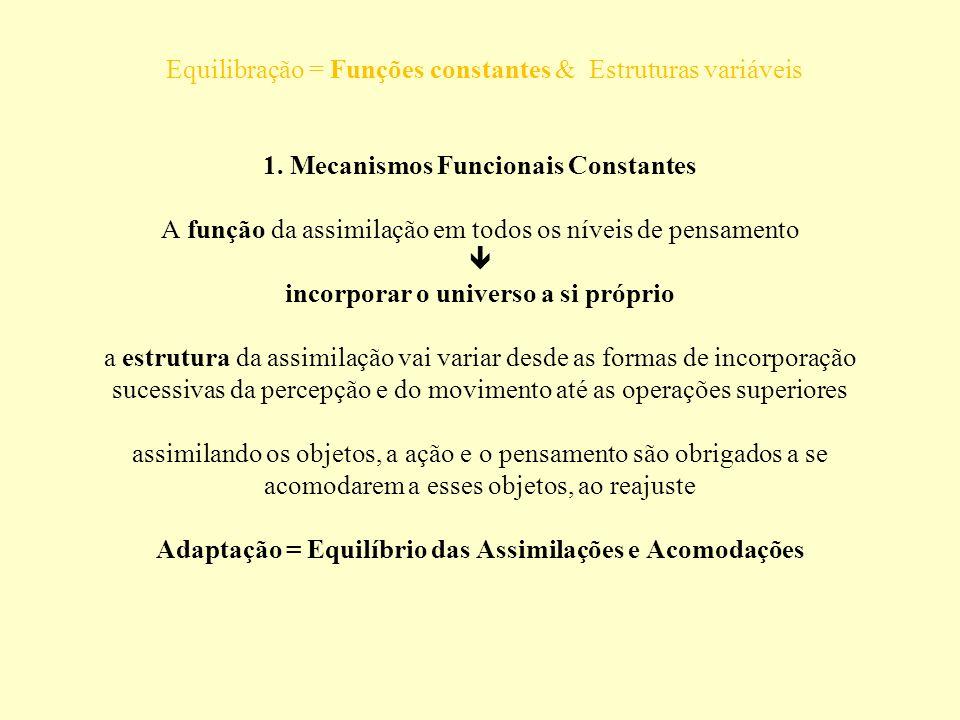 Equilibração = Funções constantes & Estruturas variáveis 1. Mecanismos Funcionais Constantes A função da assimilação em todos os níveis de pensamento