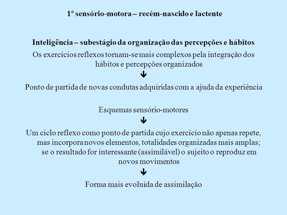 1º sensório-motora – recém-nascido e lactente Inteligência – subestágio da organização das percepções e hábitos Os exercícios reflexos tornam-se mais