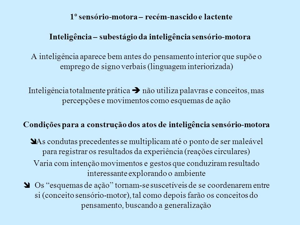 1º sensório-motora – recém-nascido e lactente Inteligência – subestágio da inteligência sensório-motora A inteligência aparece bem antes do pensamento
