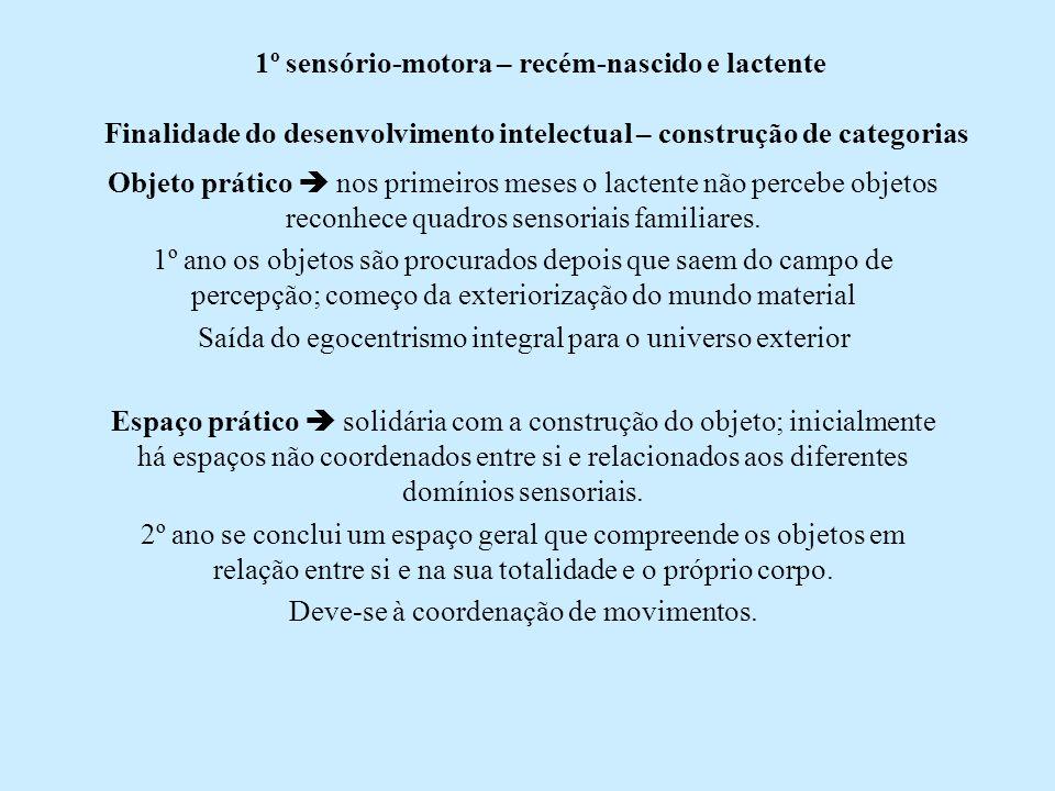 1º sensório-motora – recém-nascido e lactente Finalidade do desenvolvimento intelectual – construção de categorias Objeto prático nos primeiros meses