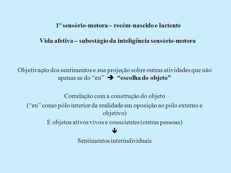 1º sensório-motora – recém-nascido e lactente Vida afetiva – subestágio da inteligência sensório-motora Objetivação dos sentimentos e sua projeção sob