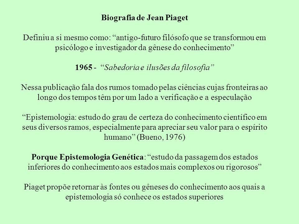 Biografia de Jean Piaget Definiu a si mesmo como: antigo-futuro filósofo que se transformou em psicólogo e investigador da gênese do conhecimento 1965