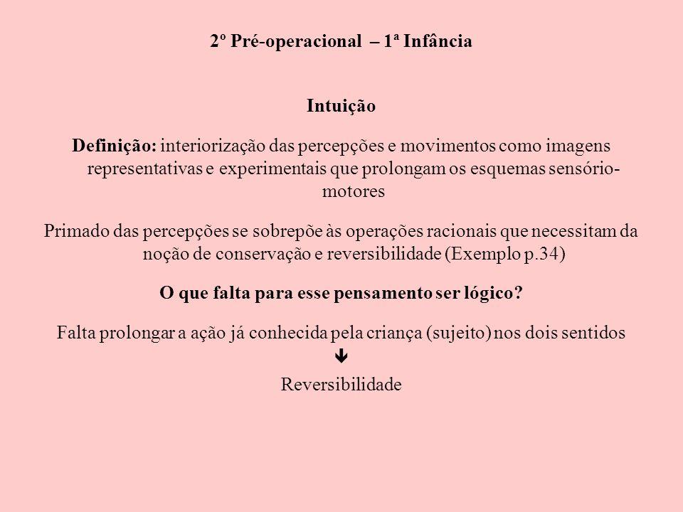 2º Pré-operacional – 1ª Infância Intuição Definição: interiorização das percepções e movimentos como imagens representativas e experimentais que prolo