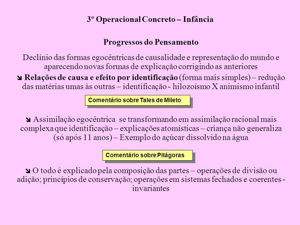 3º Operacional Concreto – Infância Progressos do Pensamento Declínio das formas egocêntricas de causalidade e representação do mundo e aparecendo nova