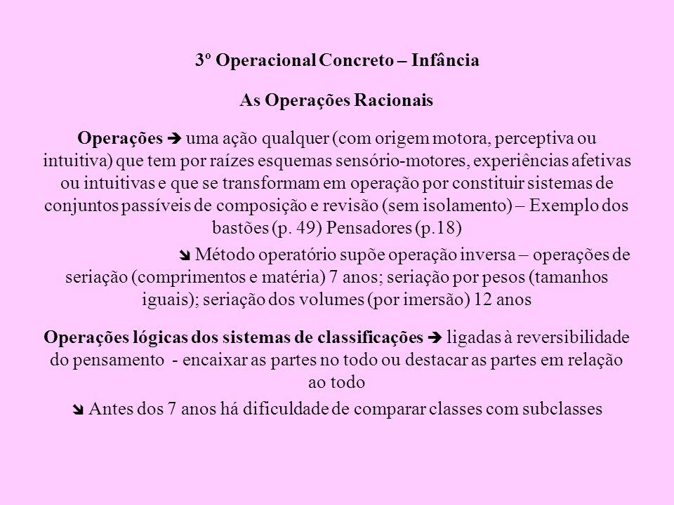3º Operacional Concreto – Infância As Operações Racionais Operações uma ação qualquer (com origem motora, perceptiva ou intuitiva) que tem por raízes