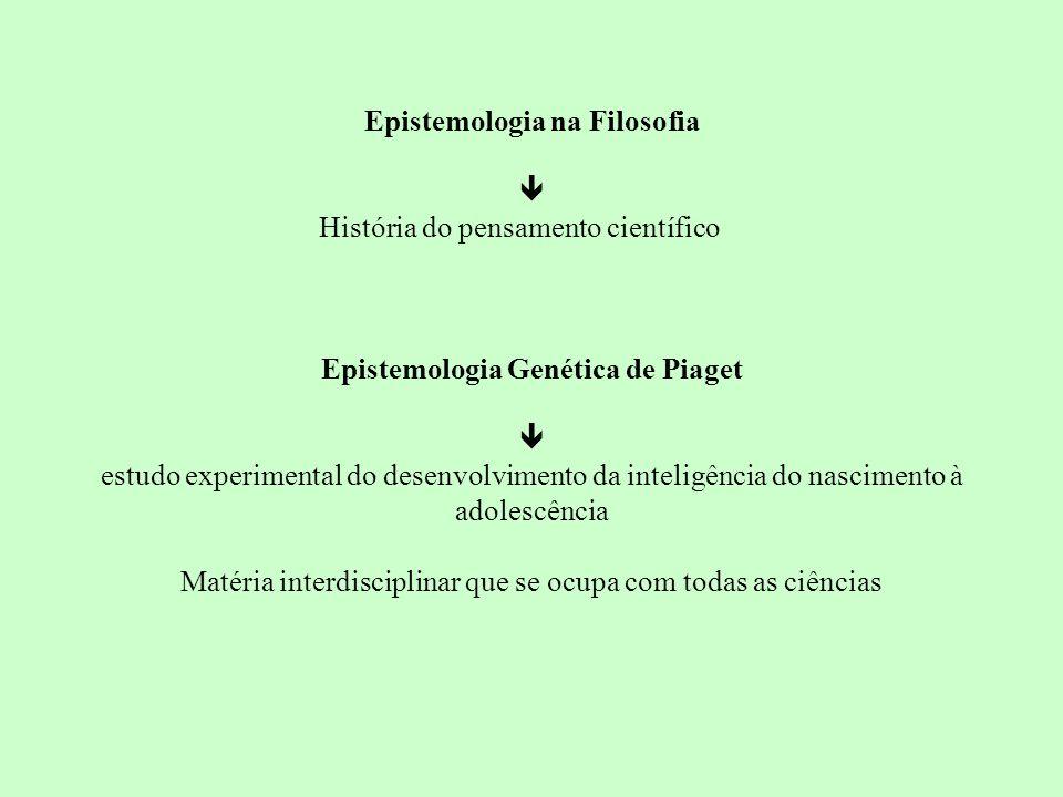 Epistemologia na Filosofia História do pensamento científico Epistemologia Genética de Piaget estudo experimental do desenvolvimento da inteligência d