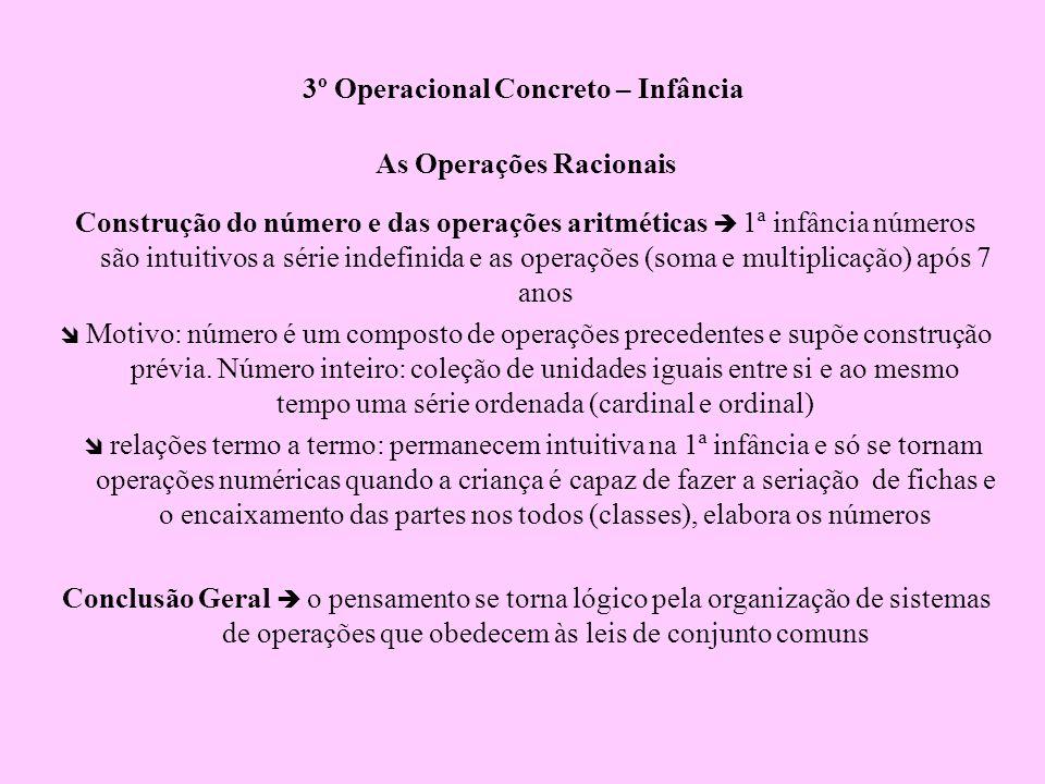 3º Operacional Concreto – Infância As Operações Racionais Construção do número e das operações aritméticas 1ª infância números são intuitivos a série